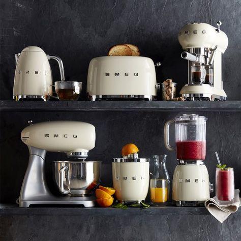 Shop Williams Sonoma for the latest Smeg kitchen appliances. Our collection includes Smeg toasters, Smeg refrigerators, Smeg juicers and Smeg kettles. Smeg Kitchen, Kitchen Appliances, Small Appliances, Modern Bathroom Decor, Kitchen Decor, Cuisines Design, Küchen Design, Kitchen Essentials, Kitchen Gadgets