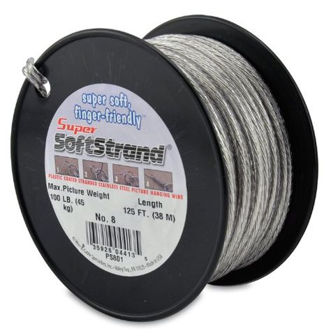 Supersoftstrand Size 8125feet Picture Wire Vinyl Coated Stranded Stainless Steel Click On The Image For Picture Wire Foot Pictures Picture Framing Materials