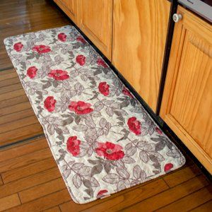 フロアーマット 50cm 135cm Studio Hilla ルースノクサ 北欧 薔薇 花柄 かわいい 後部座席シート 滑り止め キッチンマット キルト キッチンマット フロアー シート