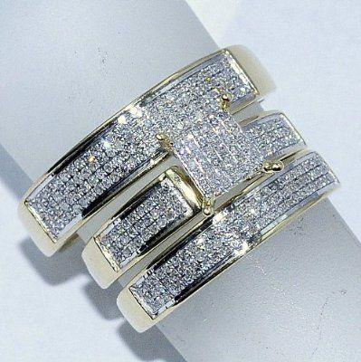 Yellow Gold Trio Wedding Set Mens Women Rings Real 053ct Diamonds Princess Pave