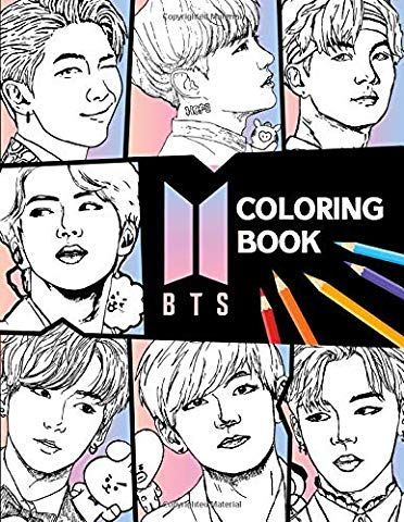 Amazon Com Bts Coloring Book For Stress Relief Relaxation And Happiness 5 5 In By 8 5 In Size Kpop 9781688814158 Ena Coloring Books Boy Coloring Books