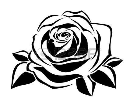 Stock Photo Silhueta Negra Rosa Stencil E Silhueta De Flor