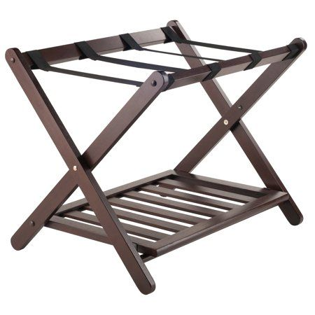 Winsome Wood Remy Luggage Rack With Shelf Cappuccino Finish