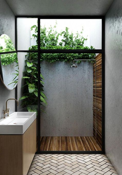 Outdoor Bathrooms 48132289756724935 - Considering a bathroom renovation? Bring the outdoors in and transform your bathroom into a stylish space with these affordable ideas using natural materials. Source by poshepoche Indoor Outdoor Bathroom, Outdoor Showers, Outdoor Baths, Indoor Outdoor Living, Outdoor Rooms, Natural Bathroom, Bad Inspiration, Shower Inspiration, Bathroom Interior Design