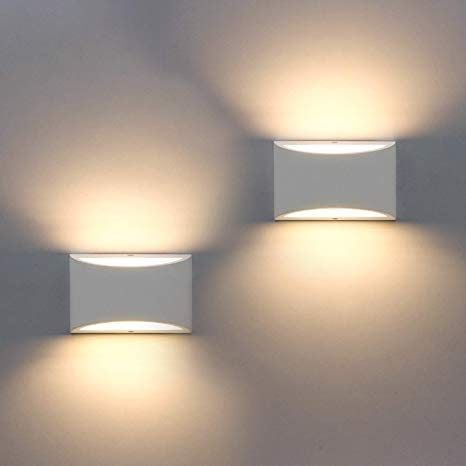 2 Pack Modern Wall Sconce Sobrovo Indoor Wall Lights Uplighter Downlighter Gypsum Plaster Sconce Lighting Wi In 2020 Wall Lights Indoor Wall Lights Modern Wall Sconces