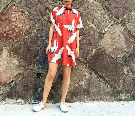 Buy DUKA Crane Print Short-Sleeve Cheongsam | YesStyle