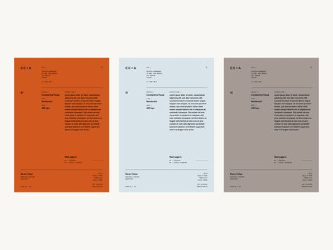 CC+A clean design simple design brand grey orange blue minimal letterhead collateral stationery branding architects architect branding Layout Design, Design Logo, Print Layout, Label Design, Book Design, Clean Design, Package Design, Cover Design, Visual Identity
