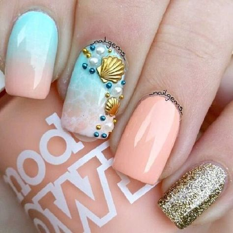 Cute Ombre Beach Nails With Gold Glitter And Studs ❤️Tropical nails are the best for summertime madness since summer is the time of sun, ocean, and vacation! ❤️ See more: naildesignsjourna.