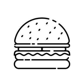 Burger Vector Illustration With Simple Black Line Design Burger Icon Fast Food Icon Cheeseburger Hamburger Burger PNG and Vector with Transparent Background in 2020 Burger icon Burger vector Food icons
