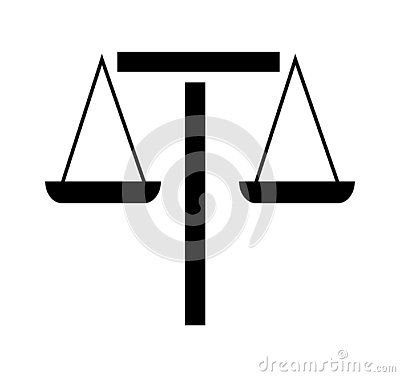 Cartoon Flat Vector Illustration Icon Sign Symbol Of Scales Of Justice On White Background Vector Illustration Symbols White Background