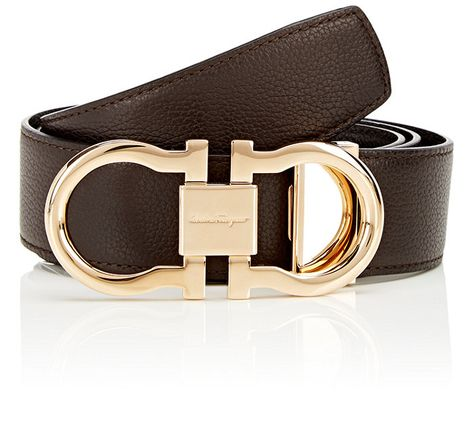 Salvatore Ferragamo Double Gancini Buckle Leather Belt