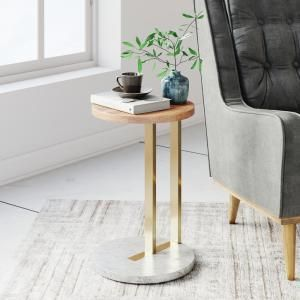 Stylewell Stylewell Round Black Finish Metal End Table With Haze Finish Wood Top 12 In W X 21 5 In H Acb 2609 117 The Home Depot In 2020 Side Table Wood Marble Side