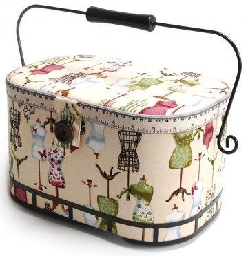 Hobby Gift MRL//29 Owl Print on Natural Large Sewing Box//Organiser 23/½x31x20cm