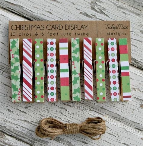 christmas craft fair items | Christmas Card Clothespin Display | Jane