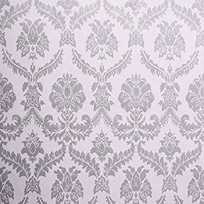 Amazon Com Sicohome Wallpaper 21 8 Yard Damask Removable Peel And Stick Wallpaper For Home Bar Grey And White Wallpaper Cute Apartment Decor Damask Wallpaper