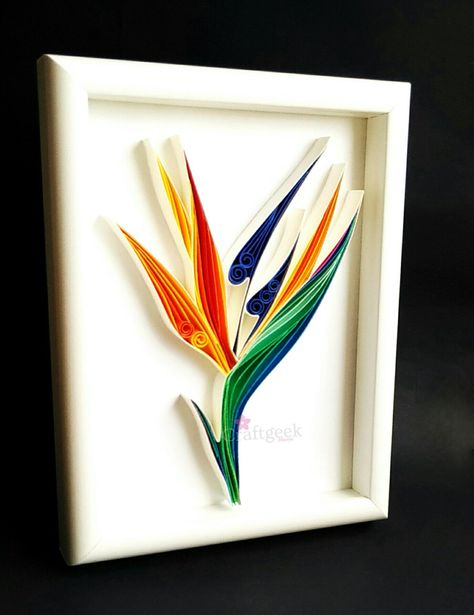 Bird Of Paradise Flower, Paper Quilled Botanical Art, Crane Flower, Quilled Paper Art, by PaperSplash on Etsy