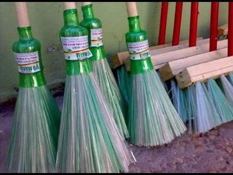 Business+idea.+How+to+make+a+broom+from+plastic+bottles.+Homemade