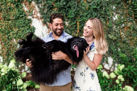 Candid family photo of couple with their happy dog during summer Chicago engagement session