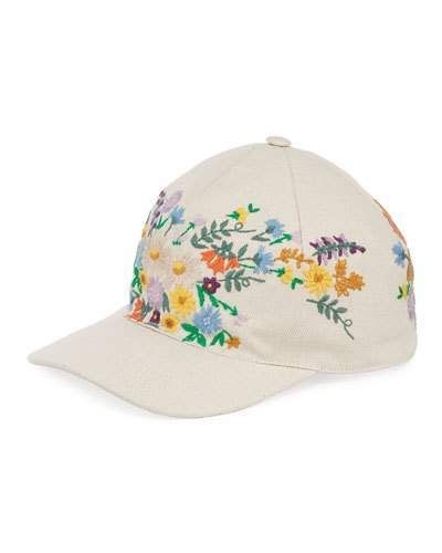 Gucci Canvas Baseball Hat w  Floral Embroidery color white  7b164973f81