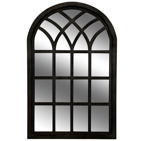 Gallery Solutions Farmhouse Cathedral Windowpane Wall Mirror In Distressed Black 46 X30 Walmart Com Mirror Wall Black Mirror Cathedral Mirror