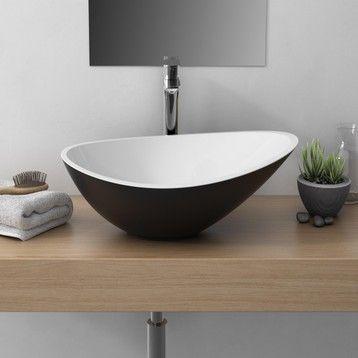 Vasque A Poser Resine Et Marbre L 56 4 X P 32 3 Cm Noir Shila Vasque A Poser Meuble Pour Vasque A Poser Vasque
