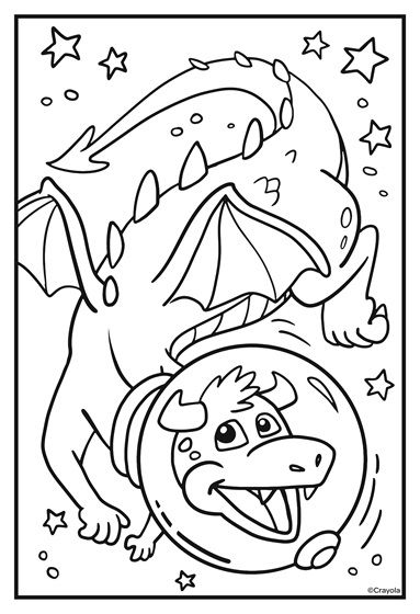 Cosmic Cats Dragon Pal Coloring Page Crayola Com Coloring