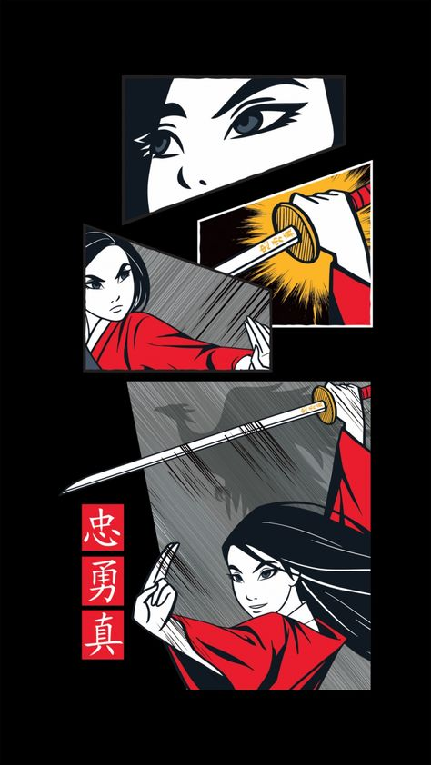 Phone wallpapers: Disney Mulan Live Action 2020 anime illustration style
