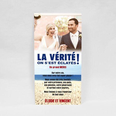 Carte De Remerciement Mariage La Vérité En 2019 Faire