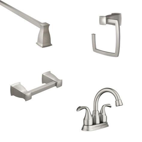 Moen Idora 4 In Centerset 2 Handle Bathroom Faucet With 3 Piece