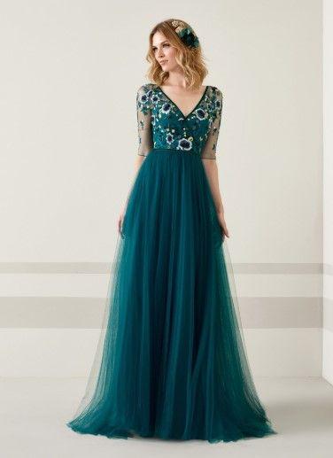 Pronovias 2020 Abiye Elbise Modelleri Pudra Uzun Balik Kolsuz Dantel Detayli Aksamustu Giysileri The Dress Balo Elbiseleri