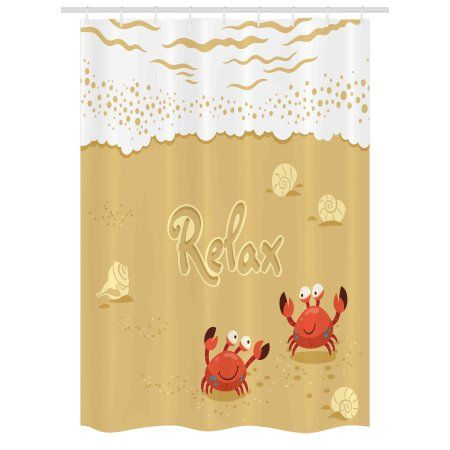 Crabs Stall Shower Curtain Funny Summer Card With Cute Crabs On