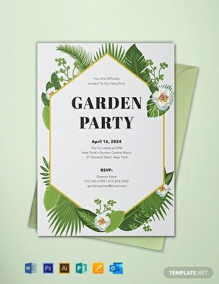 Garden Party Invitation Template Free Jpg Illustrator Word Outlook Apple Pages Psd Publisher Template Net Party Invite Template Garden Party Invitations Party Invite Design