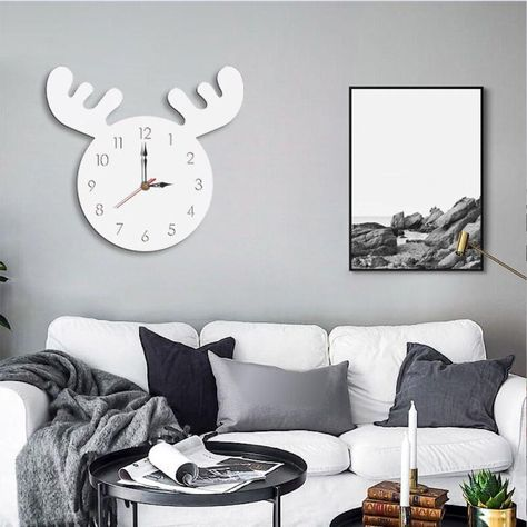 Cartoon Kitchen Living Room Removable Home Decor Wall Clocks Silent Cute Wall Clock Silent Wall Clock Home Living Room
