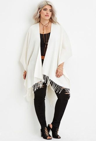 Plus Size Fringed Shawl | Forever 21 PLUS - 2000163839