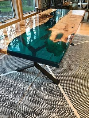 Turquoise Resin River Dining Table Wood Table Design Wood Resin