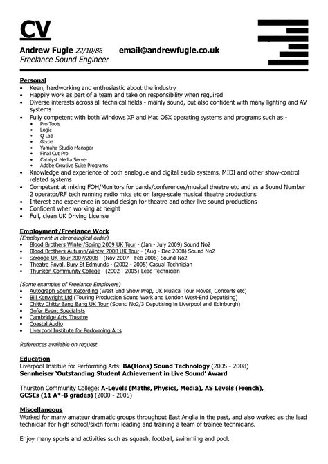 Amazing Design Audio Engineer Resume 13 Audio Engineer Resume - casual employment agreement