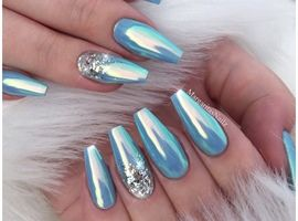 Ice Blue Glitter Coffin Nails By Margaritasnailz Aqua Nails Blue Acrylic Nails Coffin Nails Long