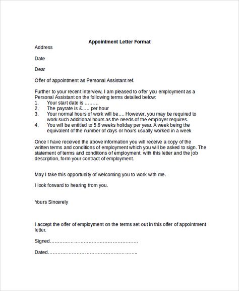Appointment Letter Format Bond Word Offer Order Template Examples