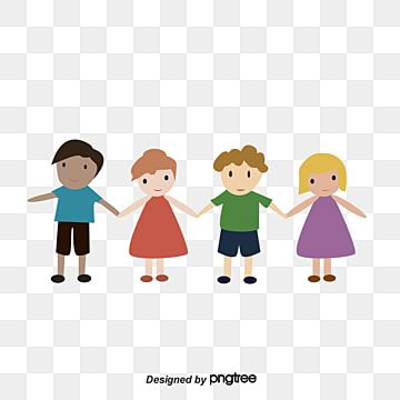 Cute Cartoon Illustration Of Happy Children Holding Hands Image Cartoon Vector Children Vector Child Png And Vector With Transparent Background For Free Down In 2021 Children Holding Hands Holding Hands Images
