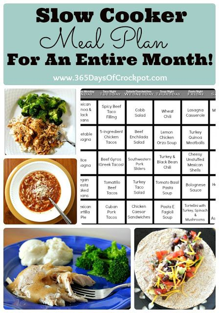 slow cooker meal plan for a whole month!