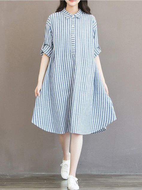 9d1c52d7ae4e Specification: Sleeve Length:Long Sleeve Neckline:Turn-down Collar  Style:Casual,Sweet,Mori Length:Knee Pattern:Striped Silhouette:A-Line  Material:Cotton ...