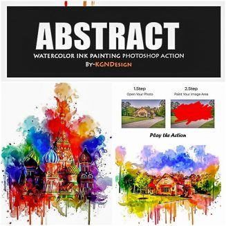 Abstract Watercolor Ink Painting Photoshop Action Photoshop