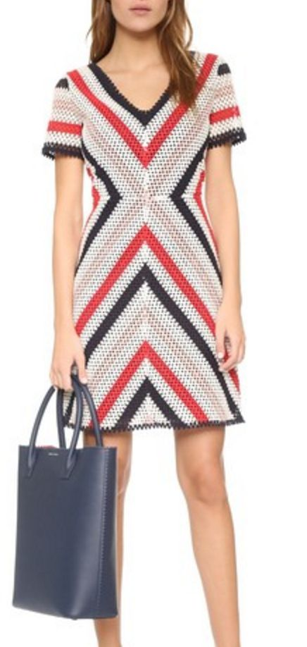 Stripe Lace Dress in White, Red, Navy, and Pink