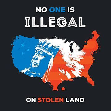 No One Is Illegal On Stolen Land Slim Fit T Shirt Text Art