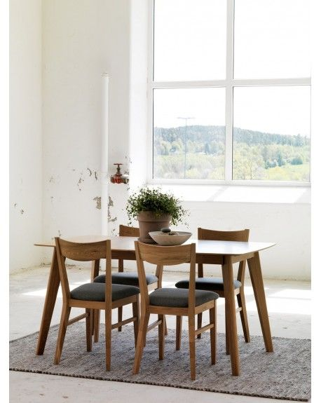 Stoly Skandynawskie Hygge Stol Rozkladany Designzoo Oak Dining Room Set Dining Table Solid Oak Dining Room