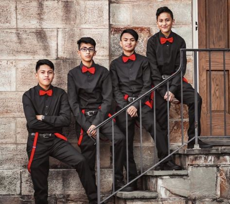 Quinceanera Chambelanes with Red attire