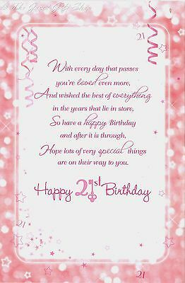 Happy 21st Birthday Daughter Pink Glittery Sentimental 3 Fold Greetings Card Card Happy 21st Birthday Daughter Happy 21st Birthday Happy 21st Birthday Quotes