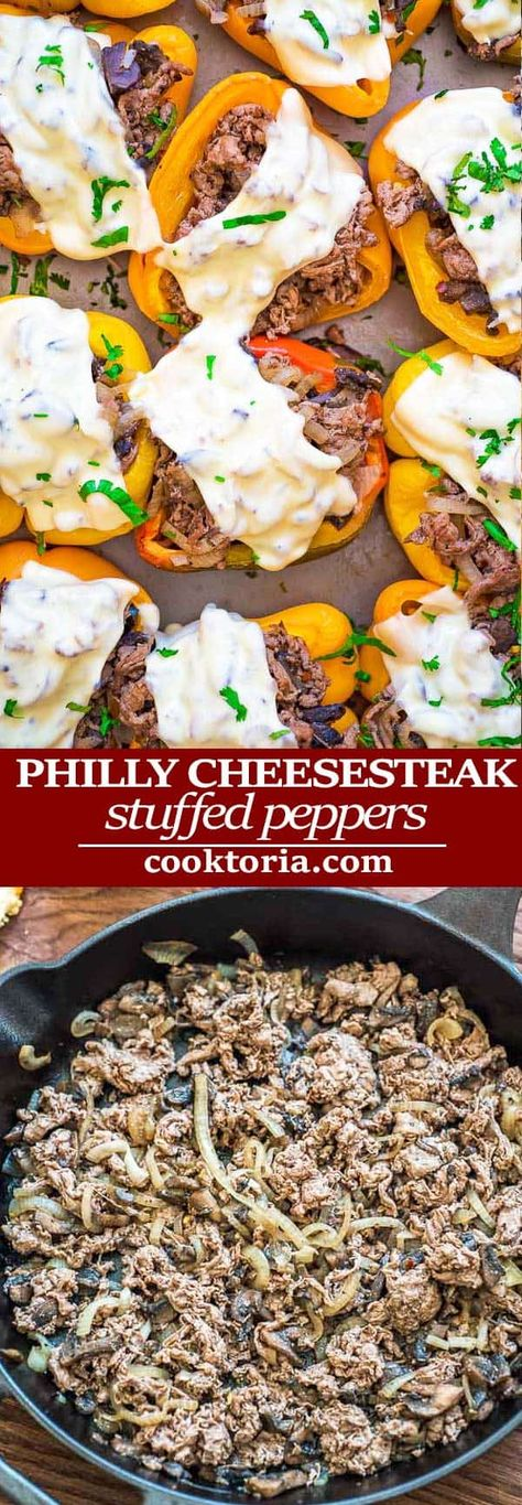 Philly Cheesesteak Stuffed Peppers (VIDEO)