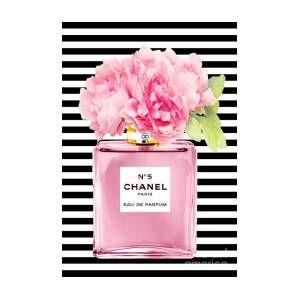 Pink Perfume Print With Peony Art Print By Green Palace Chanel Art Print Chanel Art Pink Perfume