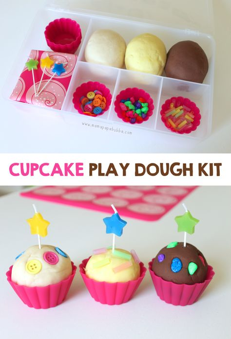 But with edible homemade play dough and edible toppings eg 🌈 rainbow sour straps, mini marshmallow clouds etc Cupcake-Play-Dough-Kit-Mama. Quiet Time Activities, Playdough Activities, Preschool Activities, Indoor Activities, Family Activities, Summer Activities, Car Activities For Toddlers, Playdough Slime, Slime Kit